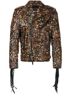байкерская куртка с мелким цветочным рисунком Dsquared2