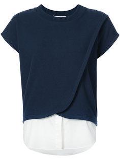 футболка с драпировкой и эффектом рубашки спереди  Derek Lam 10 Crosby
