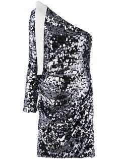 платье с пайетками на одно плечо MSGM