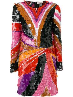 приталенное короткое платье с пайетками Emilio Pucci