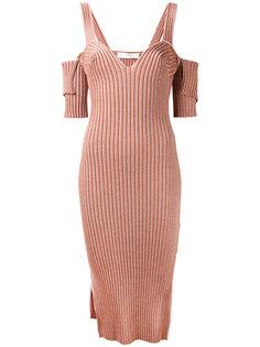 платье в рубчик с вырезами на плечах  Victoria Beckham