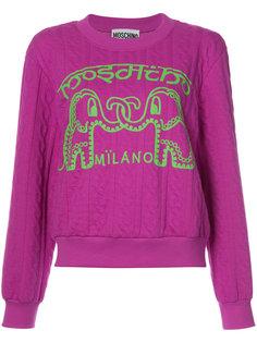 вязаный свитер с косами с изображением слонов Moschino