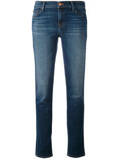 прямые джинсы с протертостями J Brand