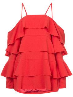 платье с открытыми плечами и оборками Strateas Carlucci