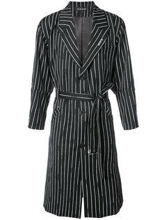 полосатое пальто с поясом Icosae
