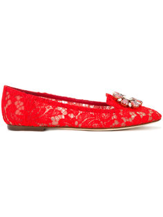 кружевные балетки Vally с кристаллами Dolce & Gabbana
