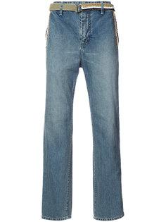 широкие джинсы с поясом Sacai