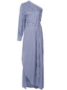 клетчатое платье на одно плечо Rosetta Getty