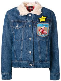 джинсовая куртка с нашивками Miu Miu