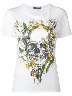 футболка с ирисами и черепом Alexander McQueen