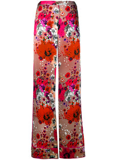брюки-палаццо в цветочный принт Roberto Cavalli