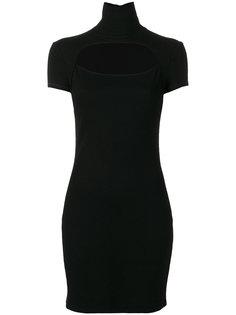 платье с высокой горловиной и вырезом на груди Helmut Lang