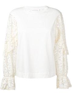 свитер с кружевными рукавами See By Chloé