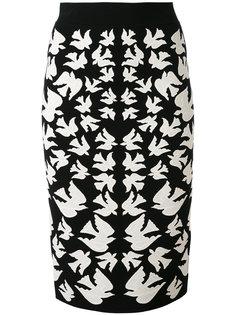 юбка-карандаш с ласточками Alexander McQueen