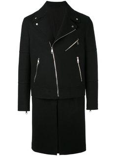 пальто в бюайкерском стиле Neil Barrett