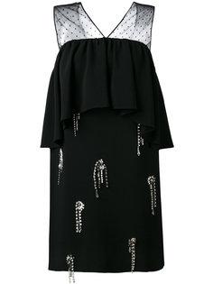 платье с кристаллами и панелью с оборками MSGM