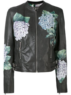 байкерская куртка с цветочным принтом Dolce & Gabbana