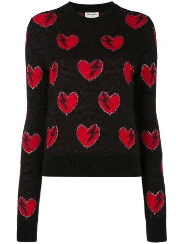 свитер с вышивкой сердец Saint Laurent