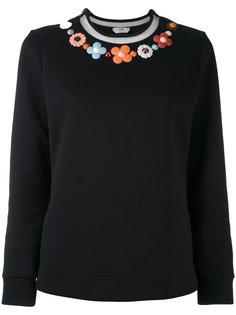 свитер с вышитым цветочным дизайном Fendi
