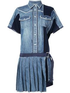 джинсовое платье с плиссировкой Sacai