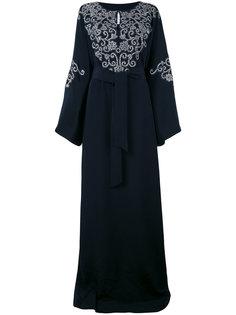 платье-туника в пол с вышивкой на груди Oscar de la Renta