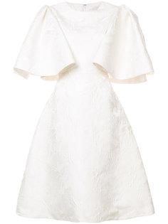 жаккардовое платье с расклешенными рукавами Christian Siriano
