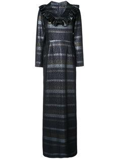 длинное платье в полоску Christian Siriano