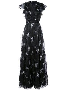 платье с вышитыми птицами Christian Siriano