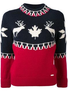 свитер с ажурным изображением оленей Dsquared2