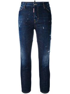 укороченные джинсы скинни с эффектом потертости  Dsquared2