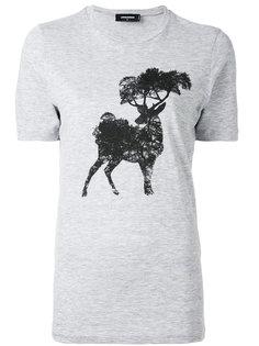 футболка с принтом лося и дерева Dsquared2