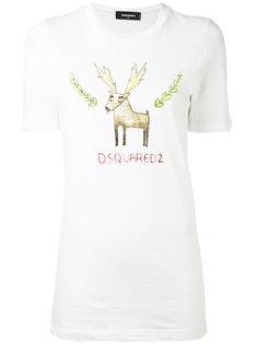 футболка с принтом лося Dsquared2