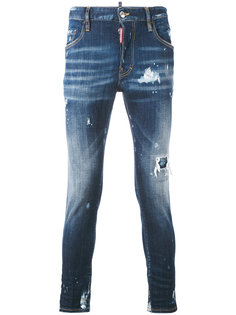 зауженные джинсы с эффектом потертости Dsquared2