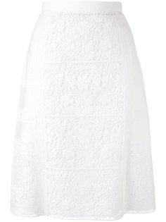 прямая юбка с цветами в технике макраме Burberry