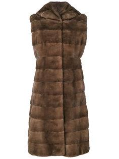 пальто с отделкой мехом Liska