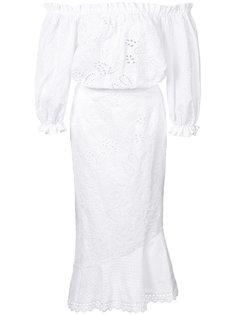 летнее платье с открытыми плечами Saloni