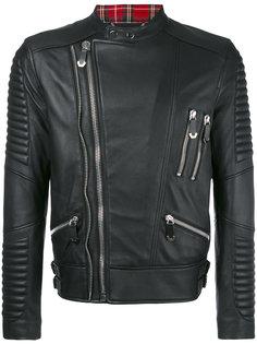 байкерская куртка с клетчатой оторочкой Philipp Plein