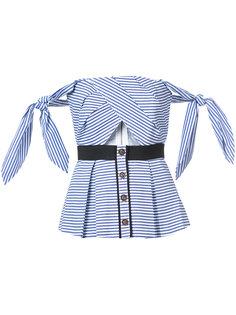 полосатая блузка с открытыми плечами Self-Portrait