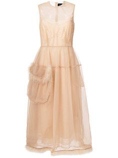 платье с карманом с отделкой из искусственного меха Simone Rocha