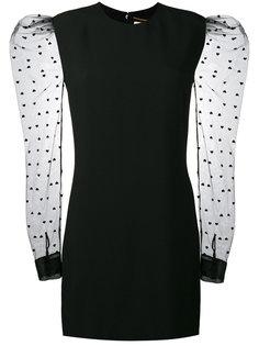 платье-мини с сердцами на прозрачных рукавах Saint Laurent