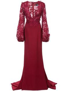 кружевное платье с V-образным вырезом  J. Mendel