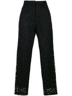 зауженные брюки с открытой вышивкой Boutique Moschino