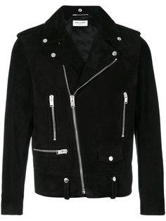 замшевая мотоциклетная куртка Saint Laurent