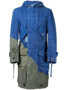длинная лоскутная джинсовая куртка Greg Lauren