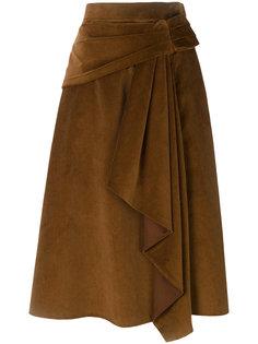 вельветовая юбка с драпировкой Prada