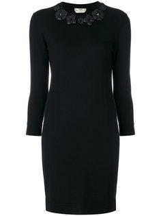 приталенное платье с цветочной аппликацией Fendi