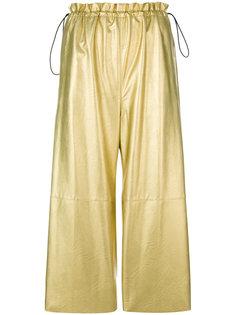 металлизированные укороченные брюки Mm6 Maison Margiela