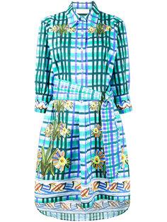 клетчатое платье-рубашка с цветочным узором Peter Pilotto
