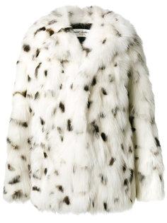 пальто свободного кроя из лисьего меха Saint Laurent