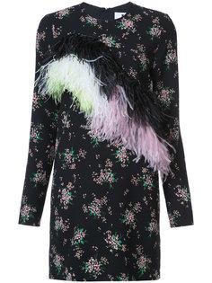 платье с цветочным принтом и перьями MSGM
